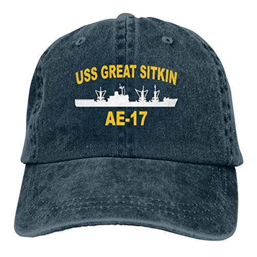 HUZEMINniu USS Great Sitkin AE-17 Unisex Adult Baseball Hats Cowboy Hats Denim Hats Dad Hat