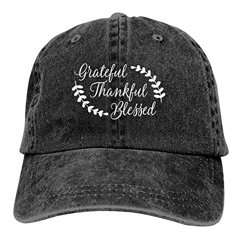 MOOCOOK Grateful Thankful Blessed Unisex Vintage Adjustable Cotton Baseball Cap Denim Dad Hat Cowboy Hat