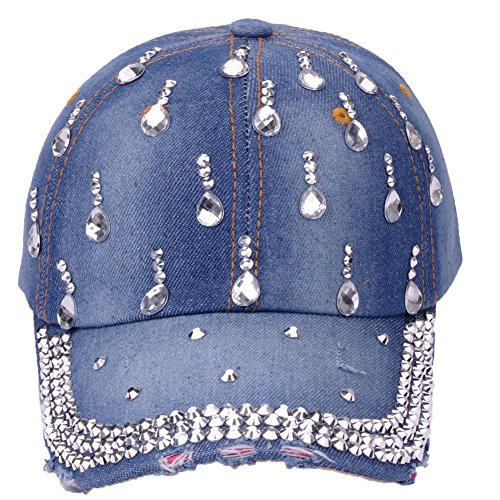 CRUOXIBB Women Bling Baseball Cap Rhinestone Jeans Denim Cowboy Hat Snapback Hat Sun Caps Adjustable