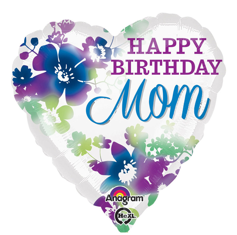 HBD MOM WATERCOLOR HEART FOIL BALLOON 18IN