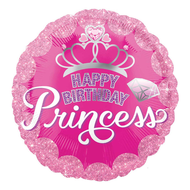 PRINCESS CROWN & GEM HBD BALLOON 18""