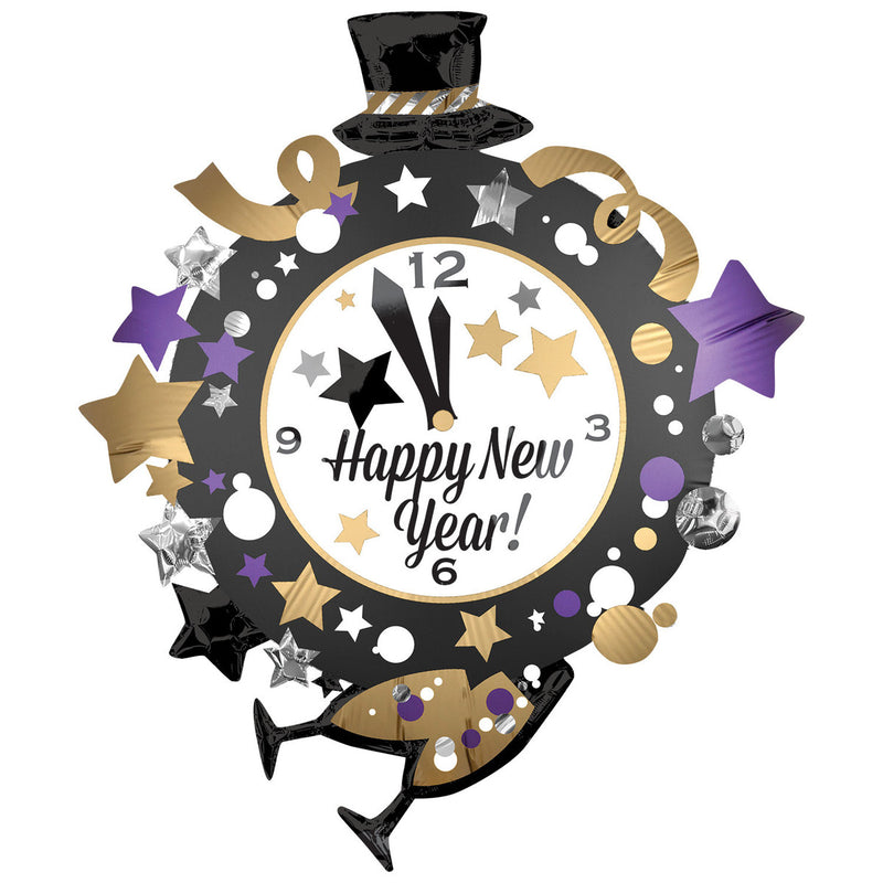 HAPPY NEW YEAR CLOCK SUPERSHAPE FOIL BALLOON