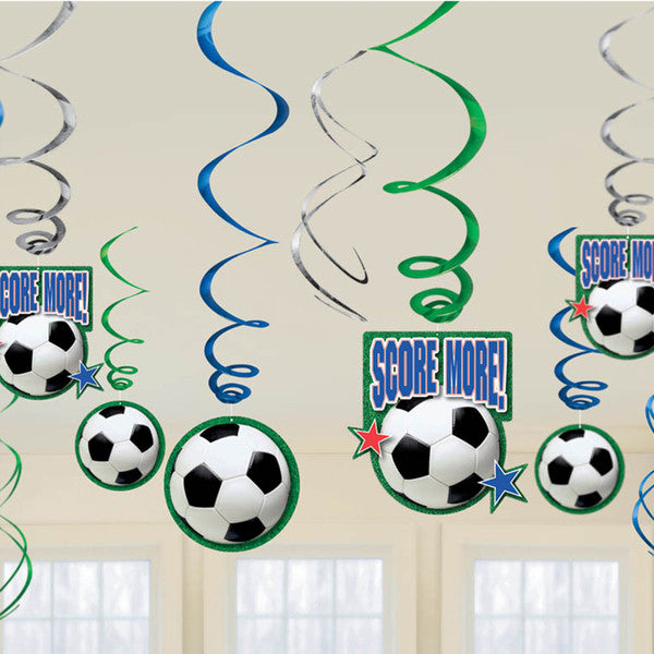 SOCCER BIRTHDAY SWIRL DECORATIONS