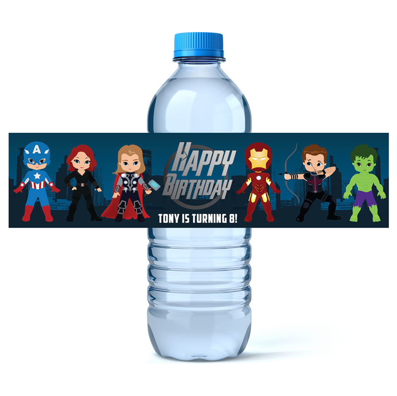 Avengers Water Label