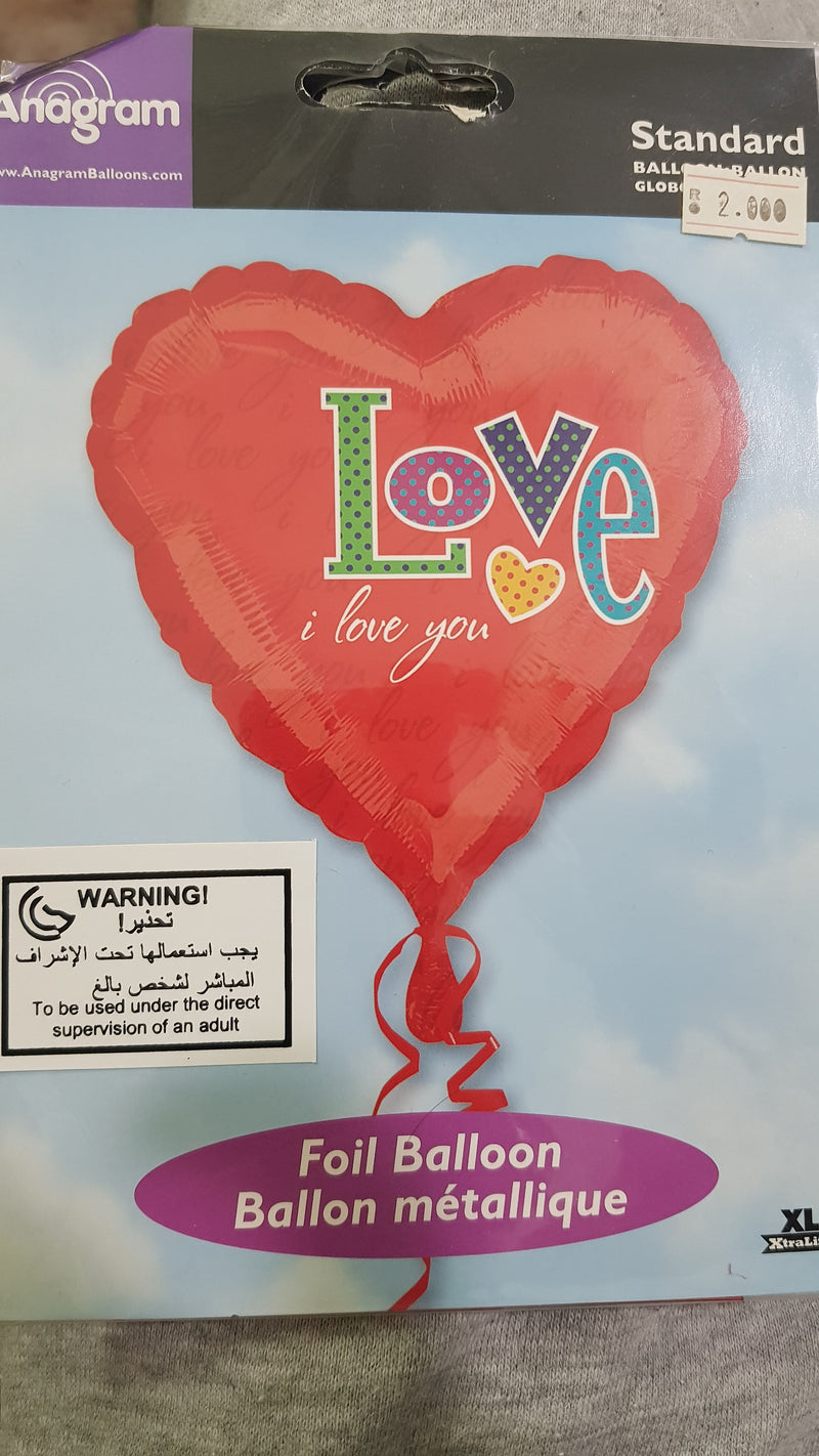 ILOVEYOU FOIL BALLOON 18IN