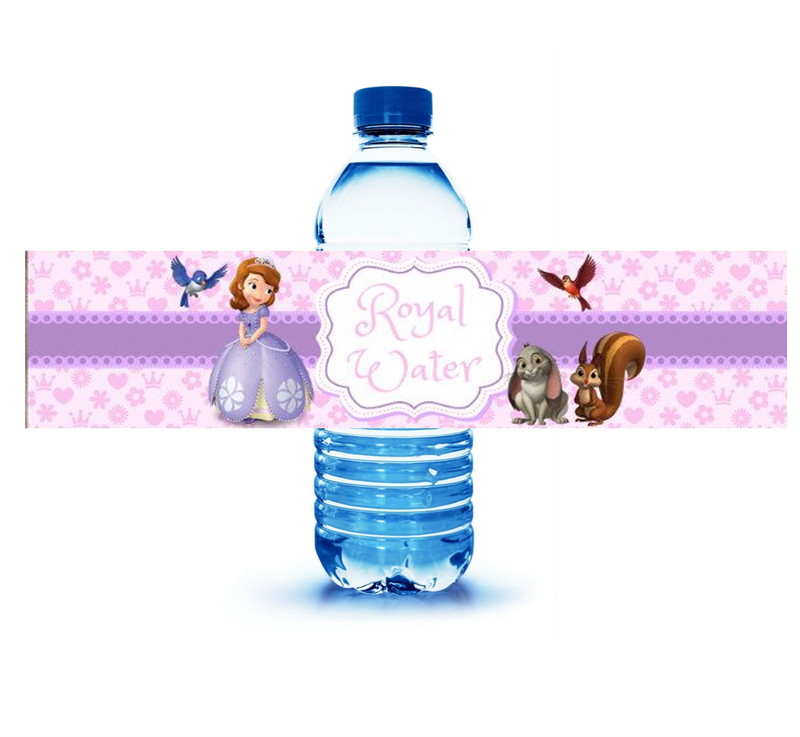 Sofia the First Water Labels