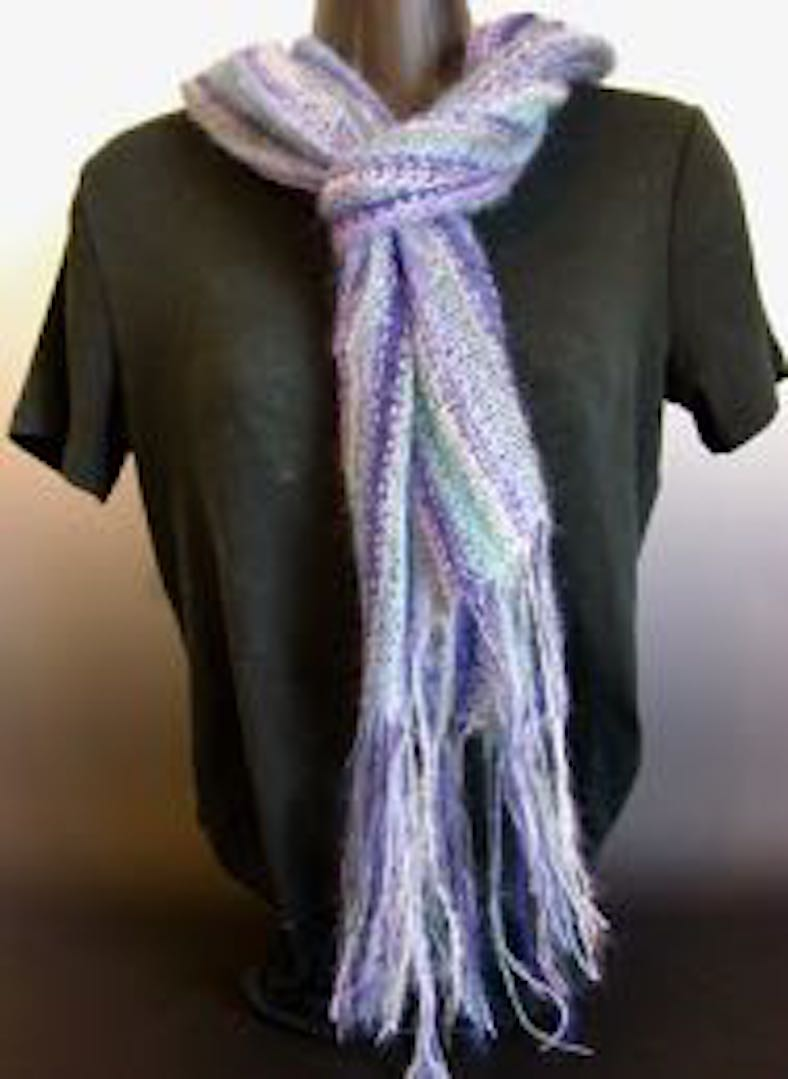 Scarf - 5-Striped Scarf with Fringe
