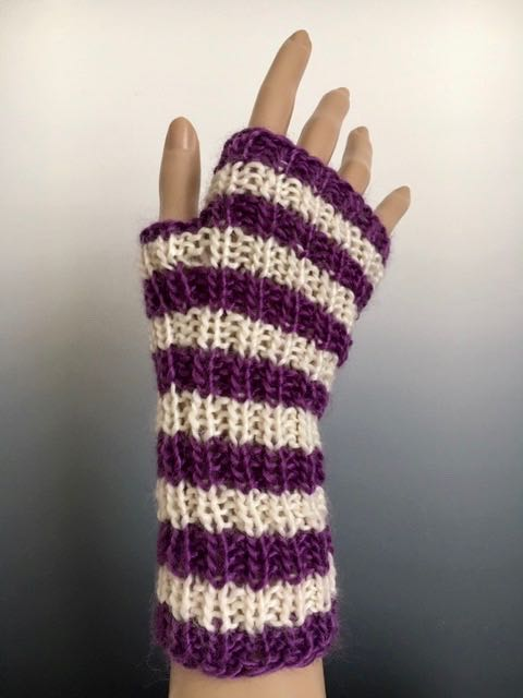 Handwarmers - Handwarmer: Mini Striped Rib Mitts (H-634)