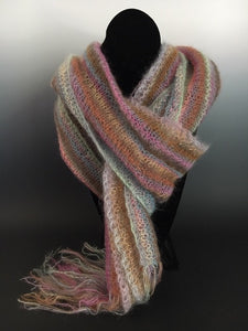 Scarf - 5-Striped Scarf with Fringe (W-602)