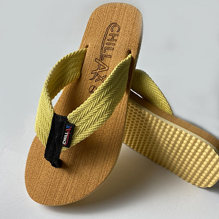 Brown Flip-Flops With Yellow Straps