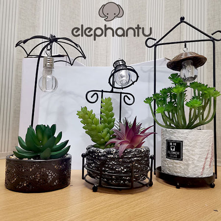 Artificial Plants With Lamp Light
