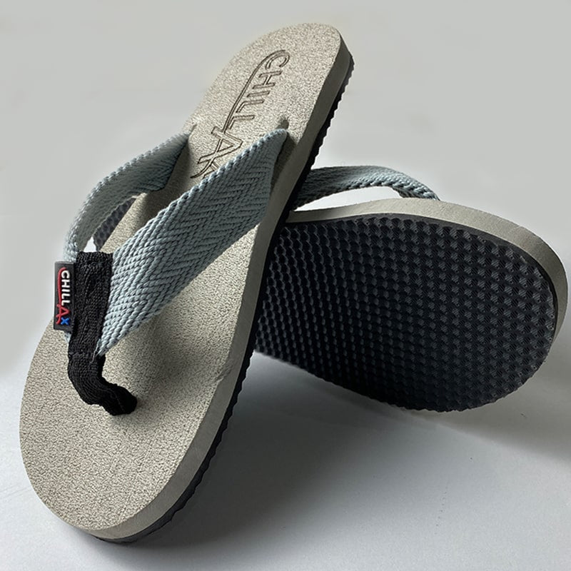 Foggy Grey Flip-Flops With White straps