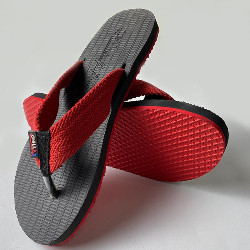 Black Flip-Flops With Red Straps