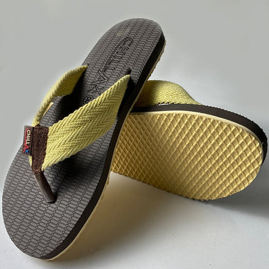Grey Flip-Flops With Yellow Straps