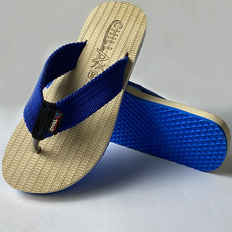 Light Yellow Flip-Flops With Blue Straps