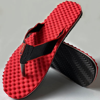 Amazing Red Flip-Flops With Black Strap