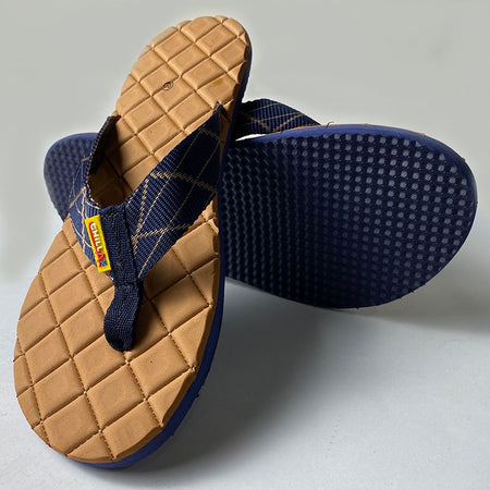 Check Shape Design light Brown Thin Flip-Flops
