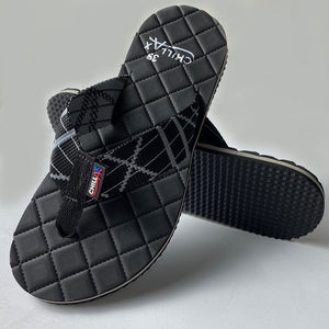 Check Shape Design Black Thin Flip-Flops