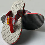 Check Shape Design Light Grey Thin Flip-Flops
