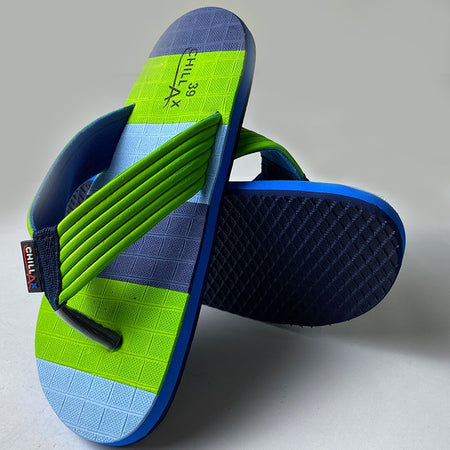 Multi Color Green and Blue Thin Flip-Flops