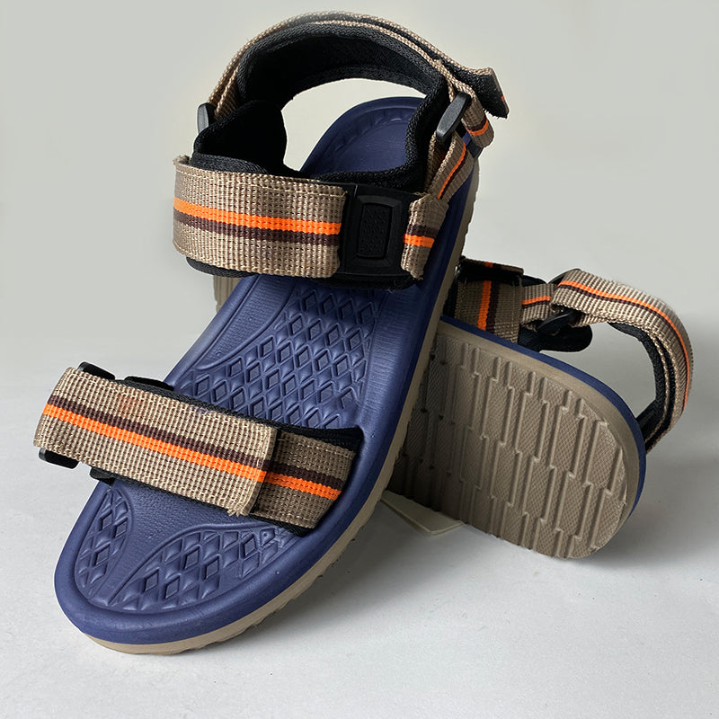 Mens Casual Outdoor Blue Sandals With Yellow Straps