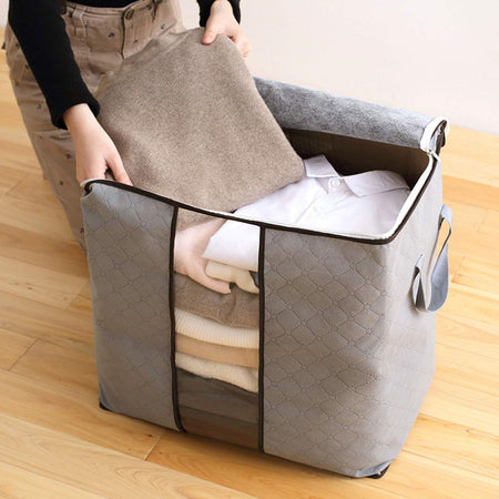 Foldable Storage Bag Clothes Organizer with Carry Handle (Pack Of 2)