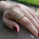 Contemporary Eternity Golden Ring With Mini Crystals For Girls-650020
