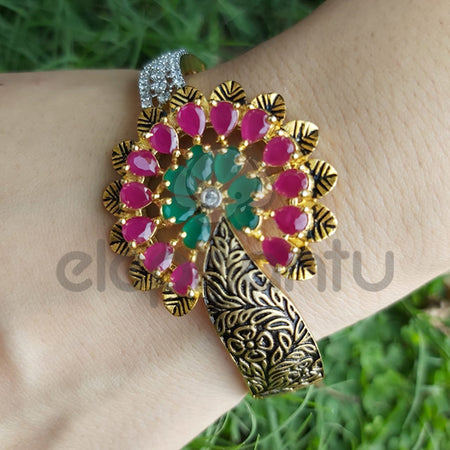 Charming Antique Designer Ruby Floral Bangle-610045