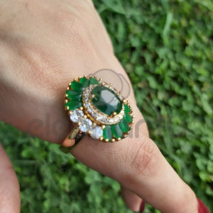 Green Stone White Crystal Ring For Women -650017
