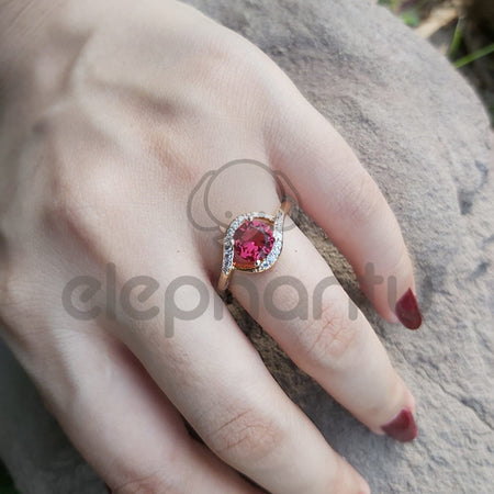 Midcentury Pink Sapphire & White Crystals  Ring -650020