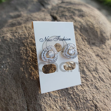 New Vintage Heart Stud Earrings-640015