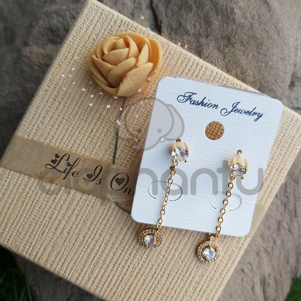 Stylish Golden Chain  Earring With Mini Crystal-640017g