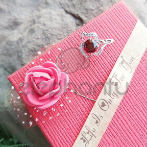 Stylish Floral Silver Red Crystal Earrings-640017