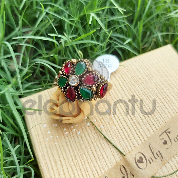 Turkish Antique Golden Plated Crystal Ring with Green and Red stones-1050012