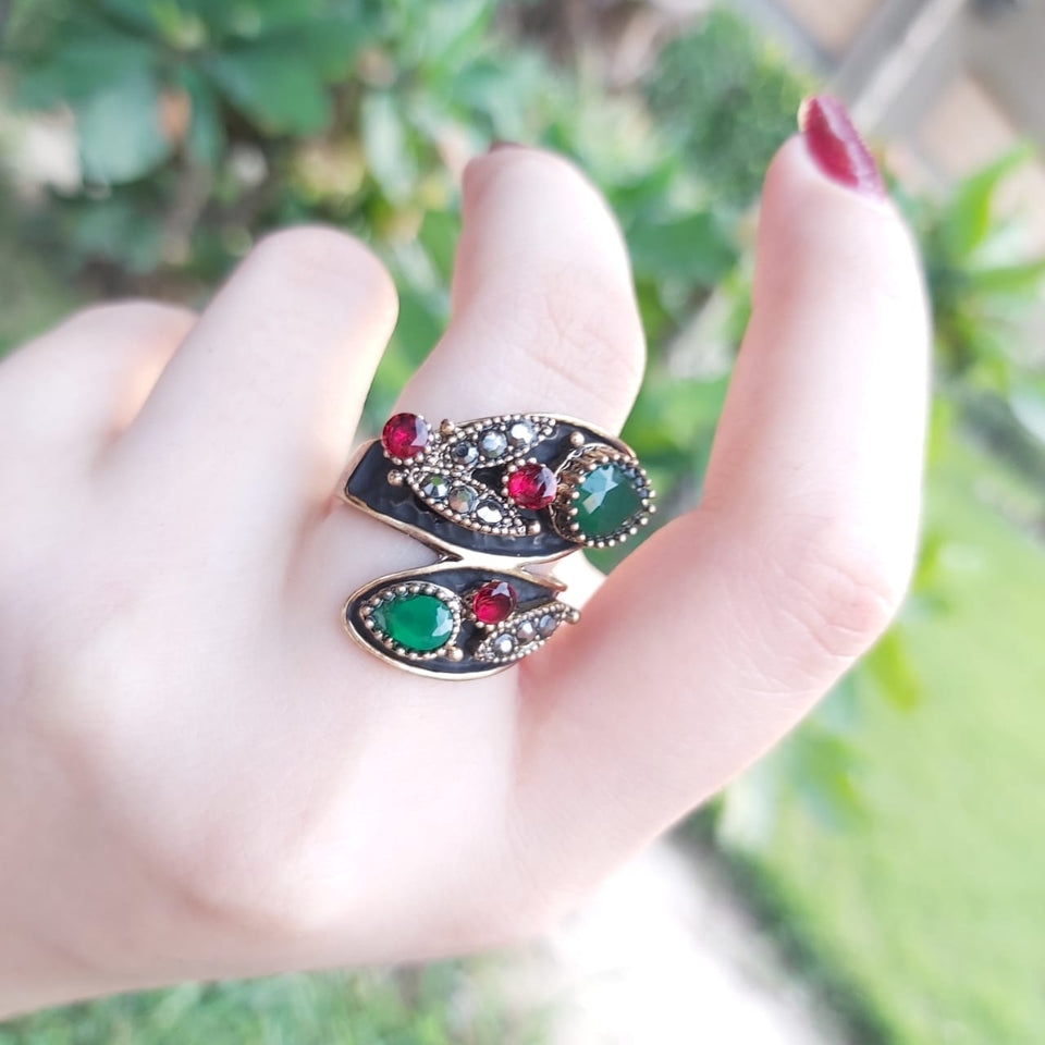 Turkish Women Vintage Ring Resin Finger Jewelry Antique-1050011