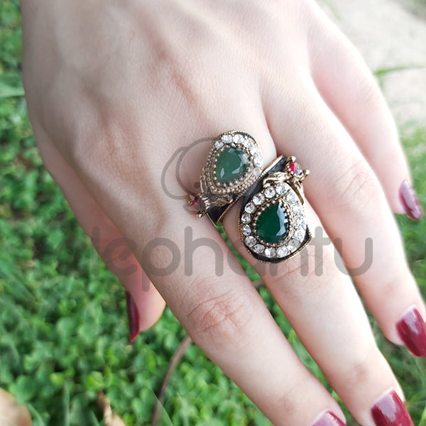 Two Headed Green Stoned Golden Turkish Ring-1050011