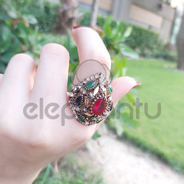 Kinel Turkish Ring For Women Antique Ruby Green Resin-1050011