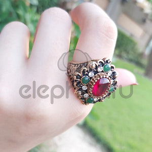 Turkish Jewelry Collares Resin Vintage Ring  Fine Women-1050017
