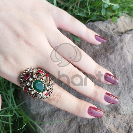 Turkish Vintage Sapphire Crystal Mosaic Ruby Crystal Fashion Ring-1050015