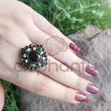 New Turkish Black Rings Antique Women's Jewelry Black Crown Green Crystal-1050017