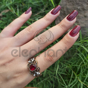 Traditional Turkish Red Stone Studded Golden Ring-1050018