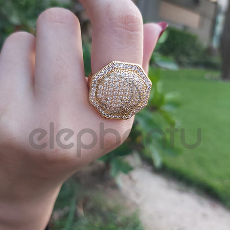 Unique Stainless Steel Golden Stone  With Mini Crystal For Girls-650025