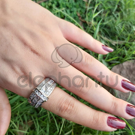 Women's Sterling  Simulated Silver Shiny Stylish Ring-650025