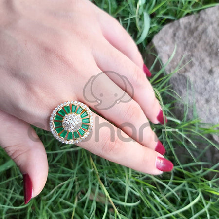Traditional Golden key Floral Ring With Green Stones-650022