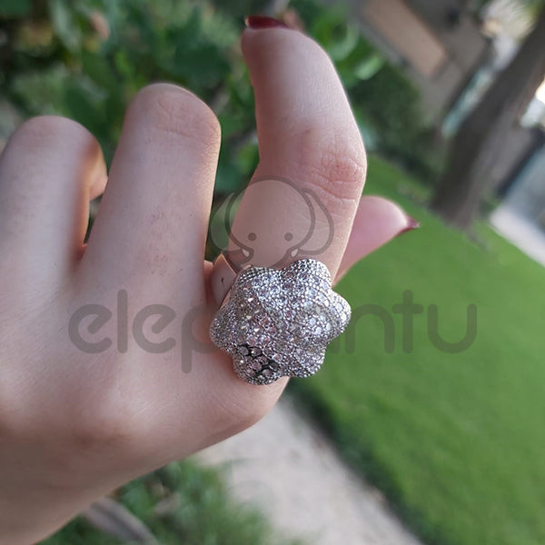 Trendy Women's Silver Floral Ring With Classy Silver Mini Crystals-650022