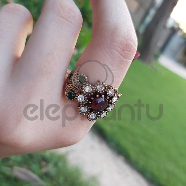 FASHION DRESS RING  WITH A RUBY COLOR FAUX GEMSTONE-1050012