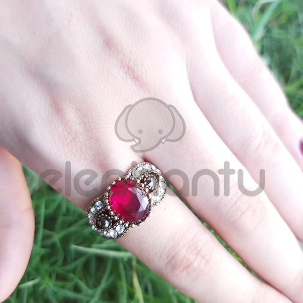 Ruby Stone Designer Band Ring Turkish Style For Girls-1050012