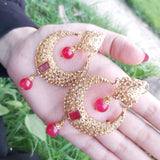 Gold Plated Red Stone Moon Shape Earrings-540020