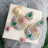 Gold Plated Moon Earrings With Green and Red Stones-540030