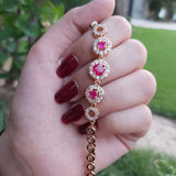 Classic Gold Plated Crystal Bracelet with Red stone-660038